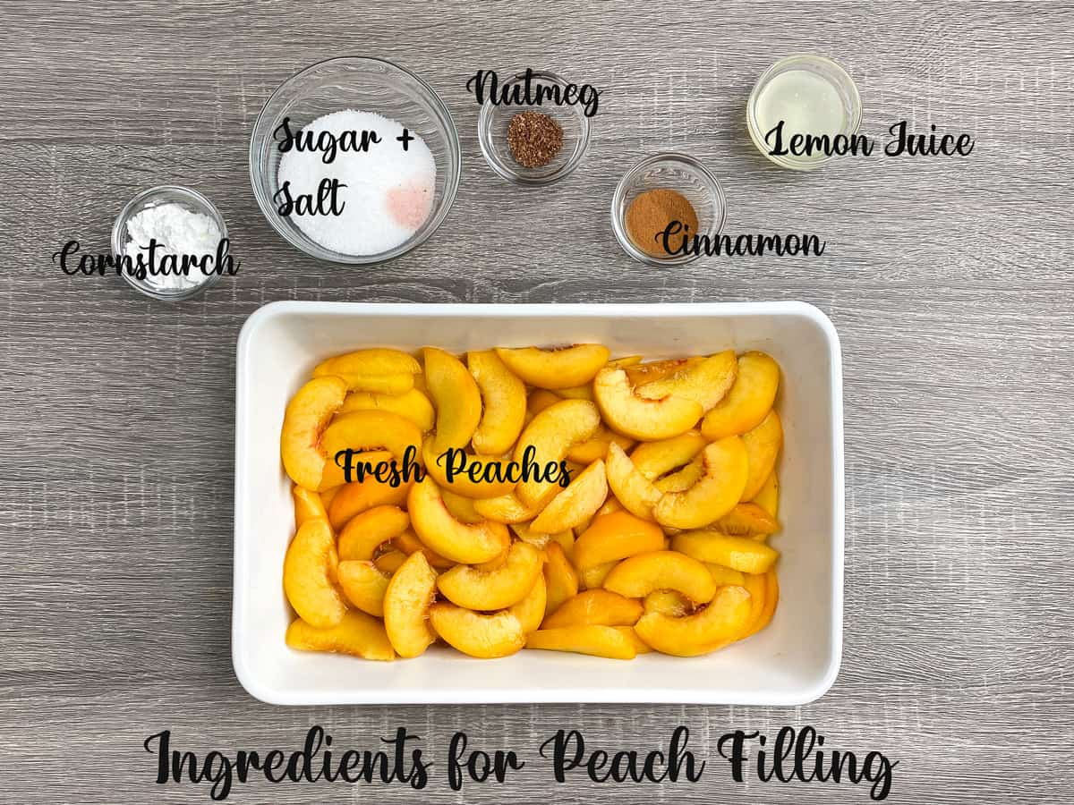 ingredients for making peach cobbler filling measured out and laid on a table