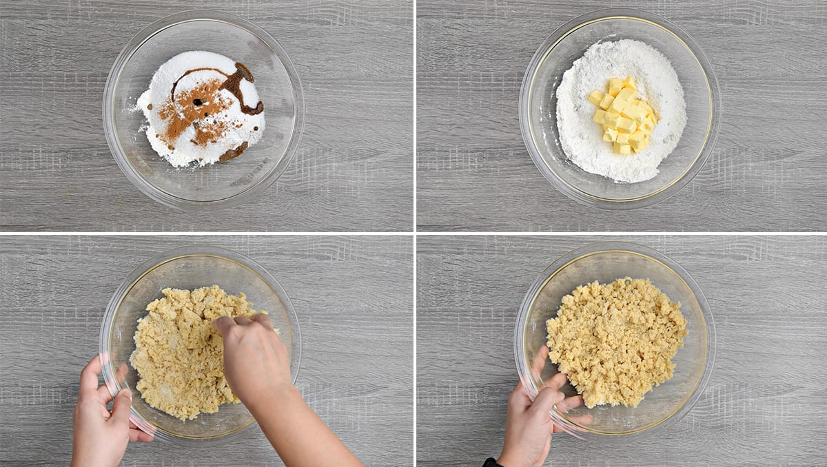 four step collage showing the cobbler topping starting from mixing the ingredients to completed crumbly topping