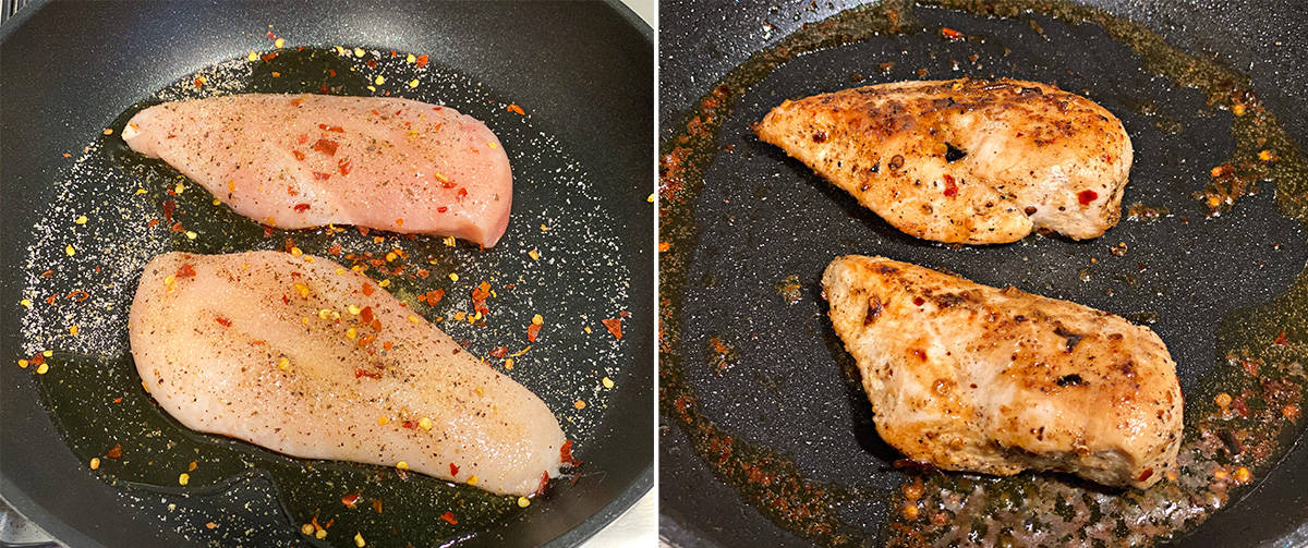 side by side images of raw chicken breast and cooked chicken breasts in a sauté pan
