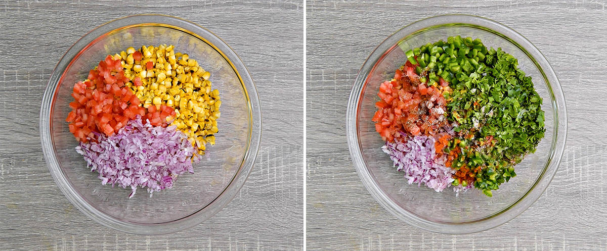 two step collage - roasted corn, chopped tomatoes and red onions in a bowl on the left, remaining salsa ingredients added to same bowl on right