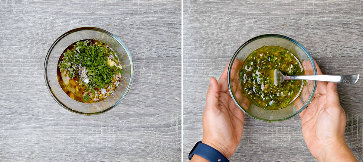 two step collage showing marinade ingredients in bowl on the left and ready marinade on right