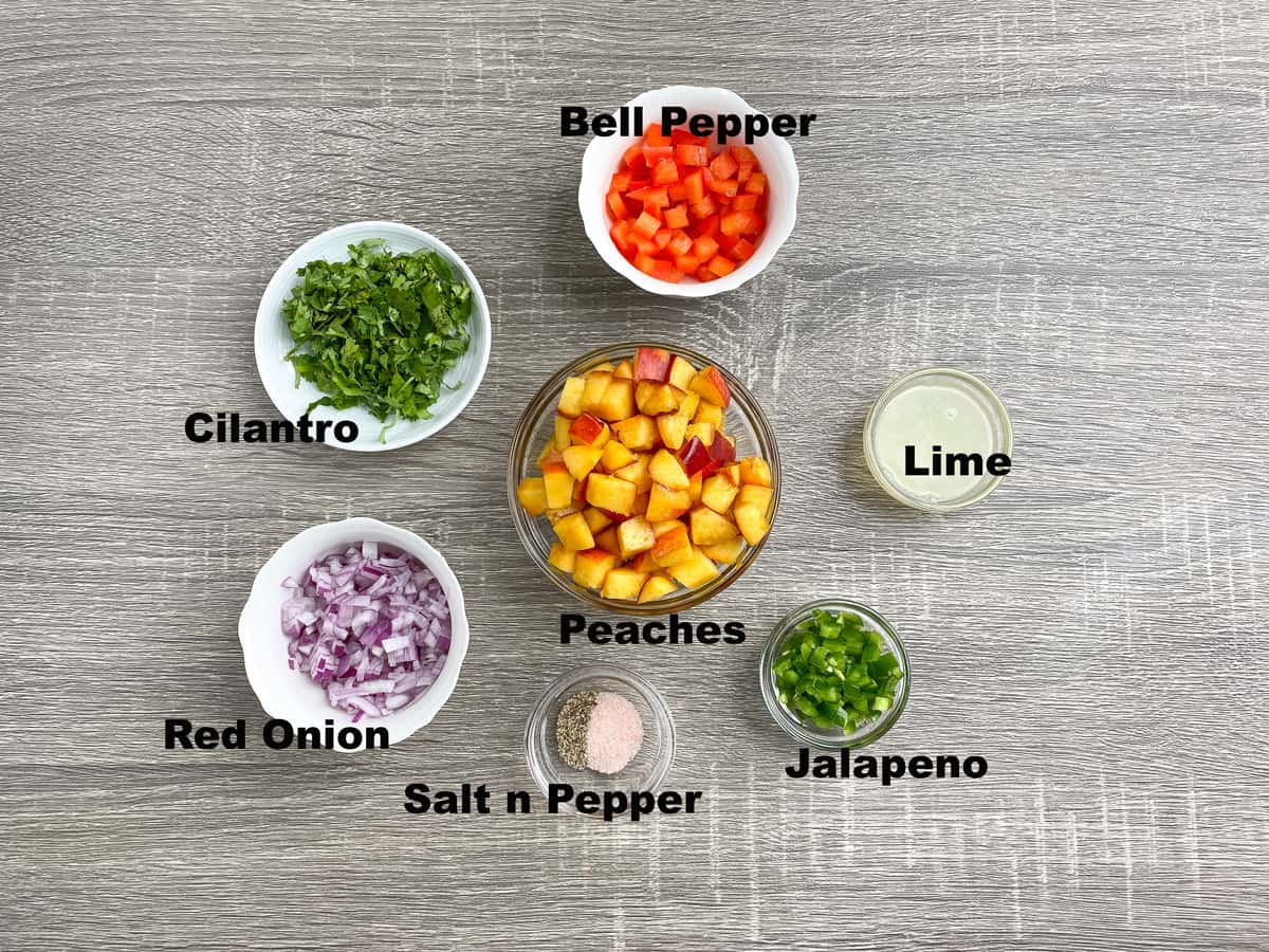ingredients for making easy homemade peach salsa chopped and measured out into bowls