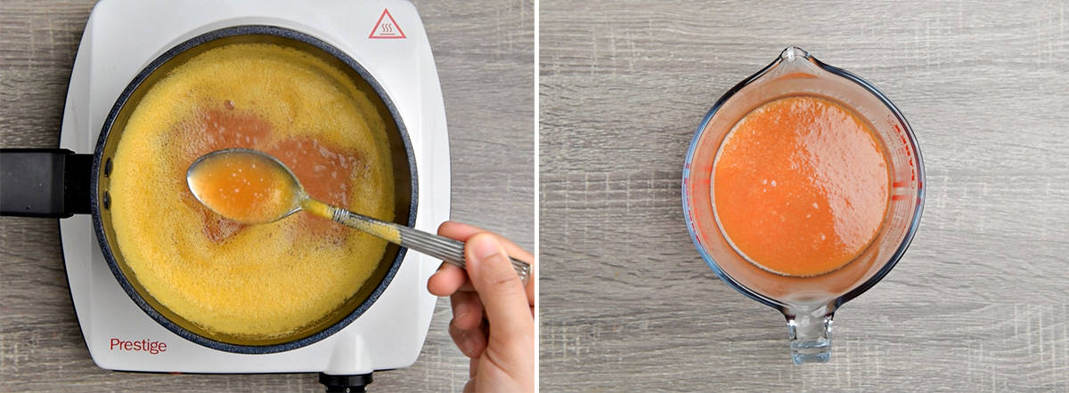 two step collage showing boiling of peach purée to make syrup