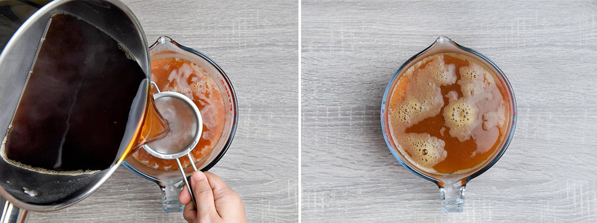 two step collage of straining the brewed tea into a glass pitcher with peach syrup