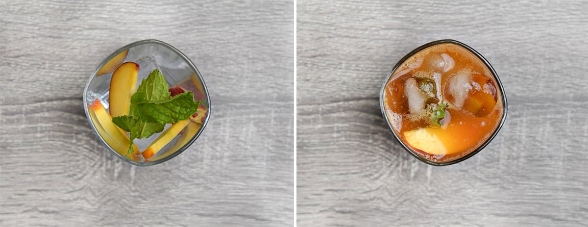 two step collage of serving iced tea in a glass with fresh peach slices, ice cubes, and mint