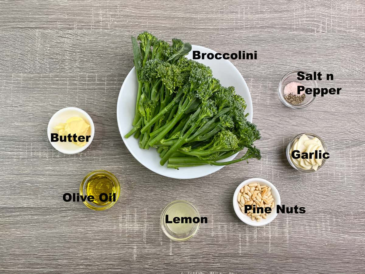 ingredients for making garlic butter sautéed broccolini