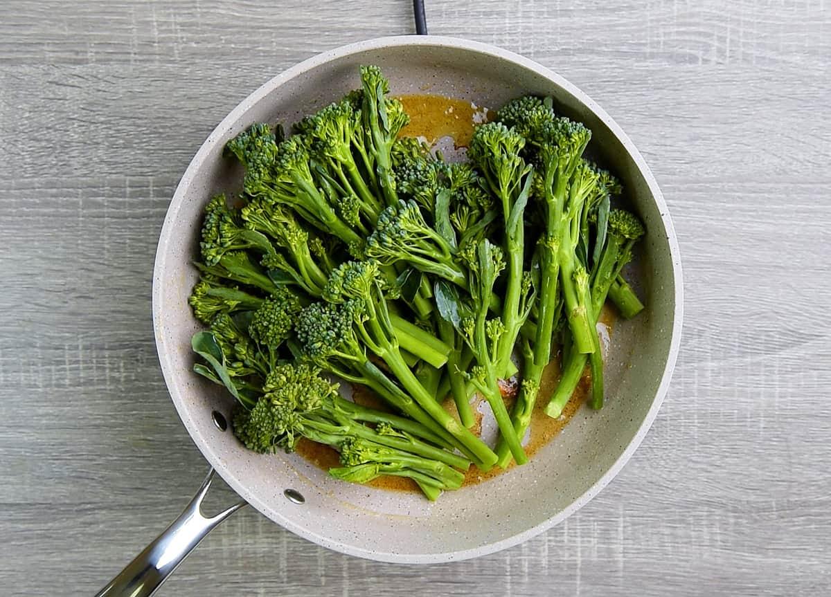 sautéing broccolini in garlic butter left in pan