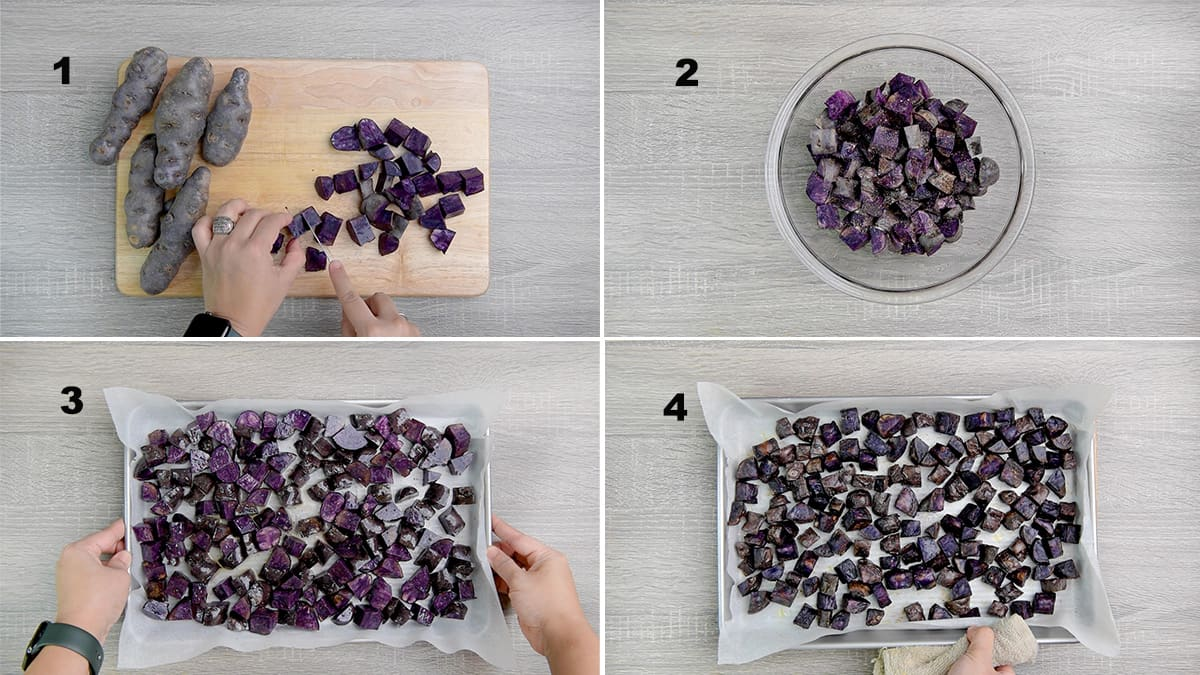 four step collage of roasting purple potatoes - chopping, tossing, spreading on a sheet tray and baking